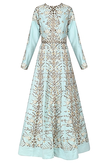 Sky Blue Embroidered Front Open Gown by Samant Chauhan