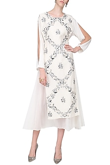 Off White Asymmetrical Embroidered Tunic by Samant Chauhan