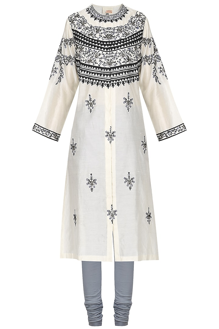 Off White Zari and Thread Embroidered Kurta with Churidar Pants by Samant Chauhan