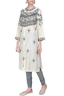 Off White Zari and Thread Embroidered Kurta with Churidar Pants by Samant Chauhan