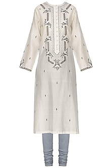 Off White Zari Embroidered Kurta with Churidar Pants by Samant Chauhan
