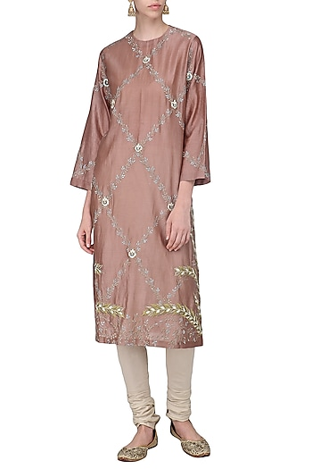 Rust Brown Embroidered Kurta with Churidar Pants by Samant Chauhan