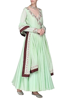Mint Green Embroidered Anarkali Gown Set by Samant Chauhan
