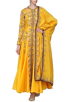 Orange Embroidered Anarkali Gown Set by Samant Chauhan
