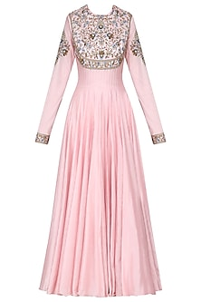 Pink Embroidered Anarkali Gown Set by Samant Chauhan