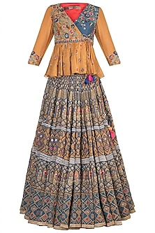 Mustard & Blue Embroidered Lehenga Set by Samant Chauhan