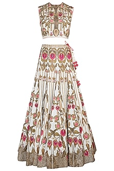 Off White Embroidered Cotton Silk Lehenga Set by Samant Chauhan