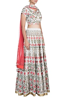 Off White Embroidered Lehenga Set by Samant Chauhan