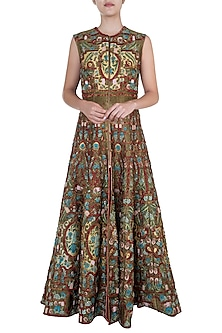 Red Embroidered Anarkali Gown by Samant Chauhan