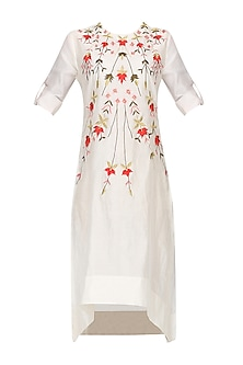 Off White Thread Embroidered Asymmetric Kurta by Samant Chauhan