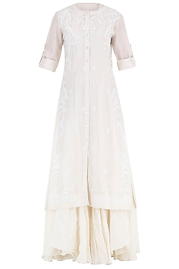 Off White Embroidered Layered Kurta by Samant Chauhan