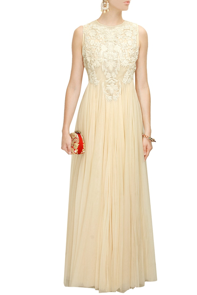 Off White Floral Thread Embroidered Flared Gown by Samant Chauhan