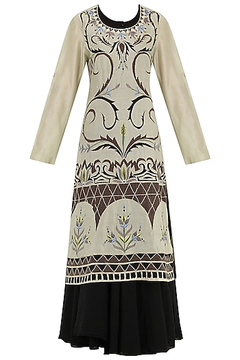 Black And Grey Multi-Colour Embroidered Layered Kurta by Samant Chauhan
