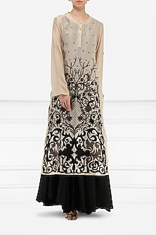Grey And Black Embroidered Layered Kurta by Samant Chauhan