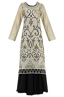 Grey And Black Multi-Colour Thread Embroidered Layered Kurta by Samant Chauhan