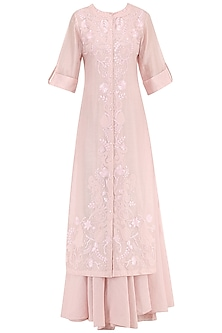 Pastel Pink Embroidered Layered Kurta by Samant Chauhan
