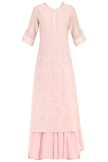 Pastel Pink Thread Embroidered Layered Kurta by Samant Chauhan