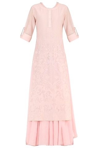 Pastel Pink Thread Embroidered Layered Kurta by Samant Chauhan