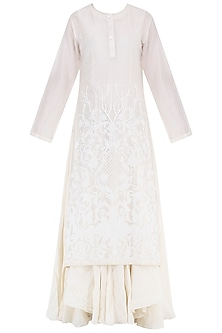 Off White Thread Embroidered Layered Kurta by Samant Chauhan