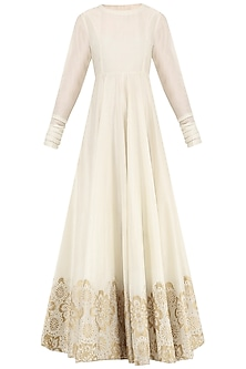 Off White And Gold Block Printed Gown by Samant Chauhan