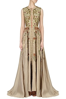 Beige Embroidered Anarkali by Samant Chauhan