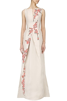 Off White Embroidered Drape Gown by Samant Chauhan