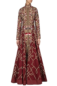 Wine Thread Work Jacket Gown by Samant Chauhan