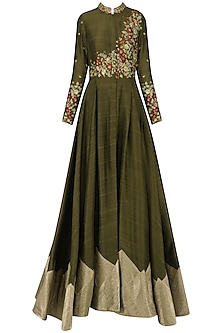 Brown Floral Embroidered Gown by Samant Chauhan
