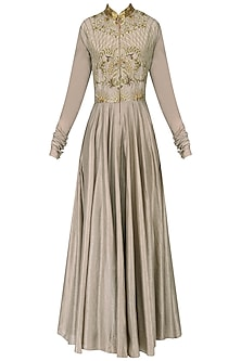 Beige Embroidered Anarkali Set by Samant Chauhan