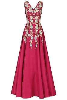 Pink Floral Thread Work Gown by Samant Chauhan