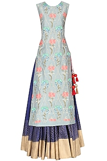 Grey Embroidered Kurta with Blue Skirt Set by Samant Chauhan