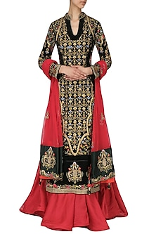Green and Red Embroidered Kurta Set by Samant Chauhan