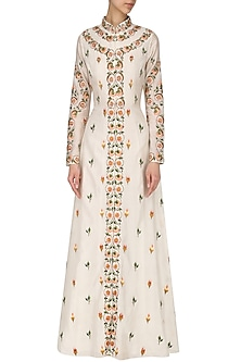 Off White Embroidered Anarkali by Samant Chauhan