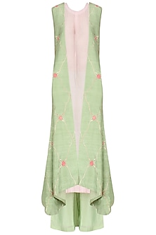 Mint Green Embroidered Jacket with Inner and Palazzo Pants Set by Samant Chauhan