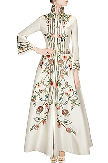 Ivory Embroidered Front Open Gown by Samant Chauhan