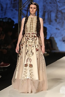 Beige Zari Jaal Layered Gown by Samant Chauhan