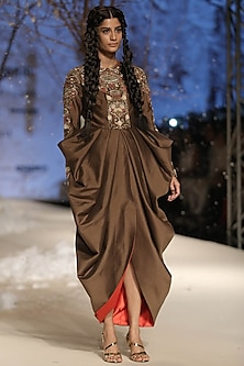 Brown Silk Thread and Dabka Embroidered Cowl Drape Dress by Samant Chauhan