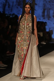 Ivory Thread and Dabka Embroidered Panel Long Dress by Samant Chauhan