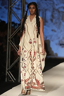 Beige Zari and Silk Thread Front Open Jacket Dress by Samant Chauhan