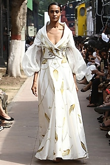 Off White Thread and Zari Work Overlap Neck Gown by Samant Chauhan