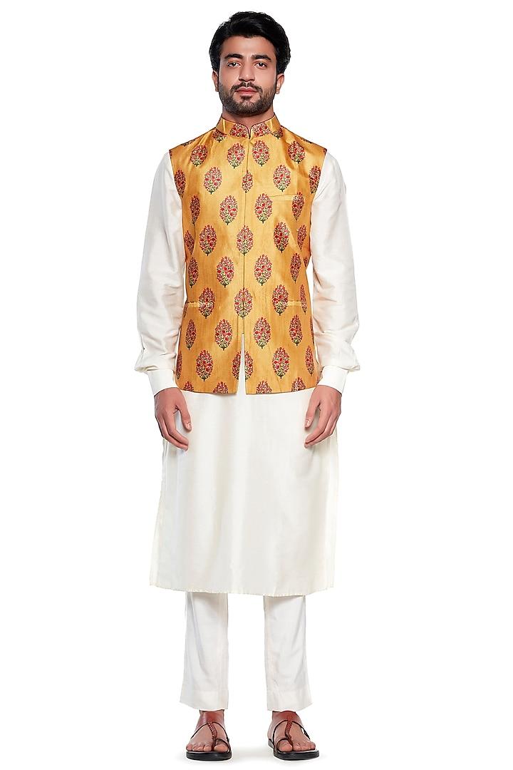 Yellow Floral Bundi Jacket by Siddhartha Bansal Men
