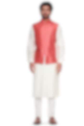 Pink Printed Bundi Jacket by Siddhartha Bansal Men