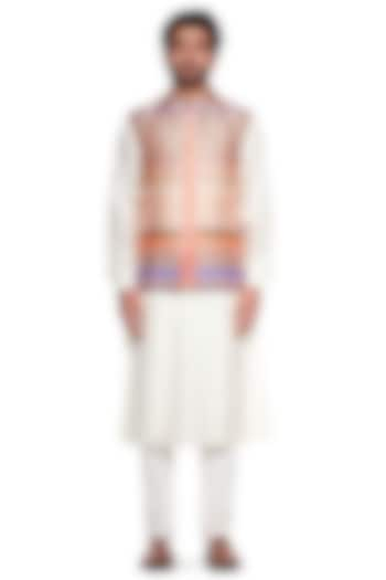 Peach Printed Bundi Jacket by Siddhartha Bansal Men