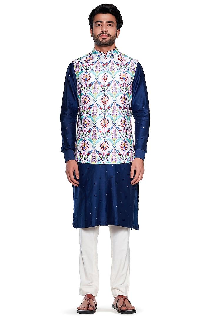 Neon Floral Bundi Jacket by Siddhartha Bansal Men