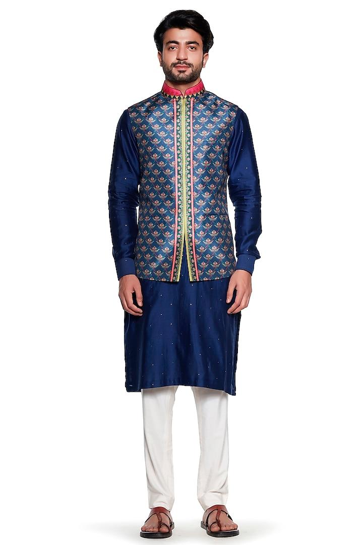 Blue Chintz Bundi Jacket by Siddhartha Bansal Men