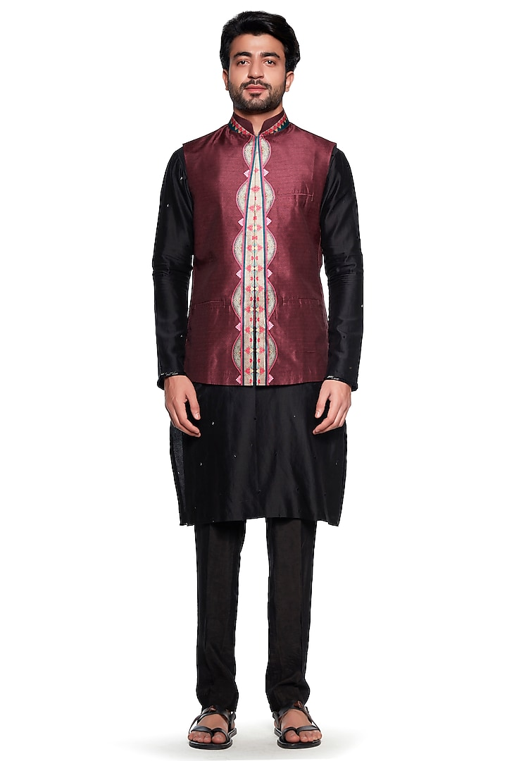 Maroon Chintz Bundi Jacket by Siddhartha Bansal Men