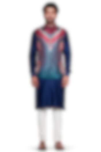 Maroon & Blue Paisley Bundi Jacket by Siddhartha Bansal Men