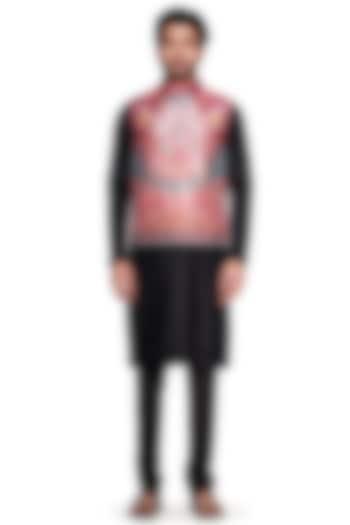 Red Paisley Bundi Jacket by Siddhartha Bansal Men
