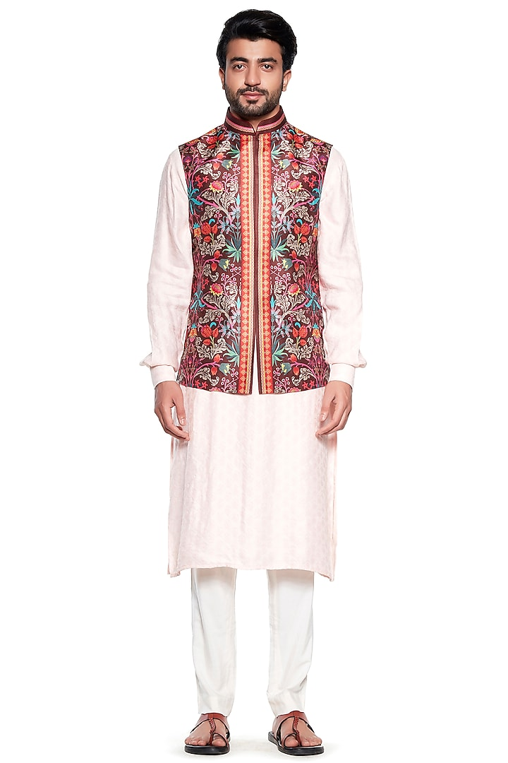 Brown Chintz Bundi Jacket by Siddhartha Bansal Men