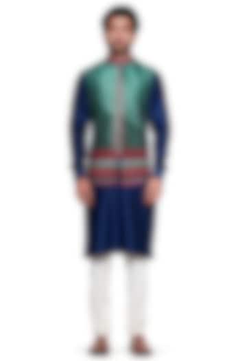 Green Printed Bundi Jacket by Siddhartha Bansal Men